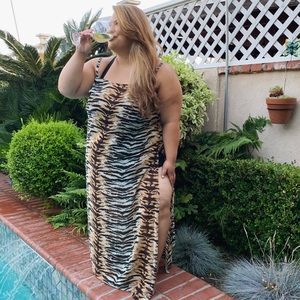 3X Plus Size Swim Cover Up Dress Tiger Print